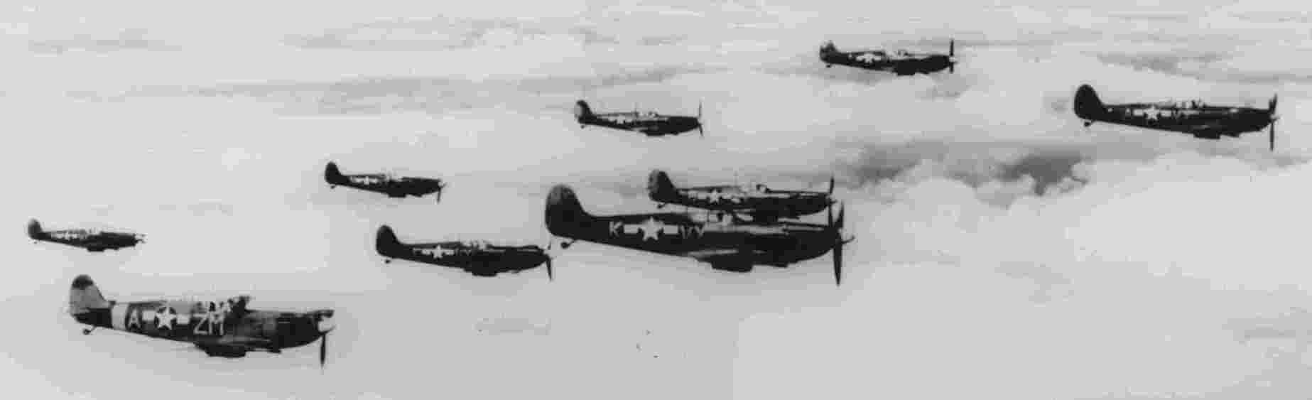 12th Squadron over England.  Haun's plane is lowest left.